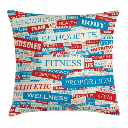 fitness throw pillow cushion cover collage of words physical