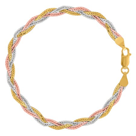 Tricolor Braided Snake Chain Anklet In Sterling Silver, -