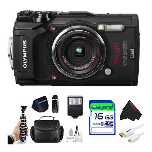 Olympus Tough TG-5 Digital Camera (Black) + Pixi Starter Accessory Bundle Kit