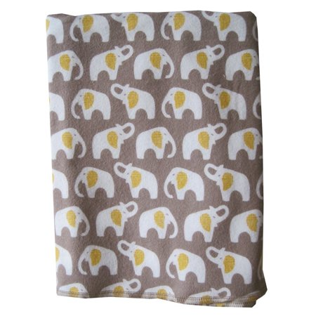 Organic Flannel Swaddle Blanket - Made in Oregon (Gray Elephant)