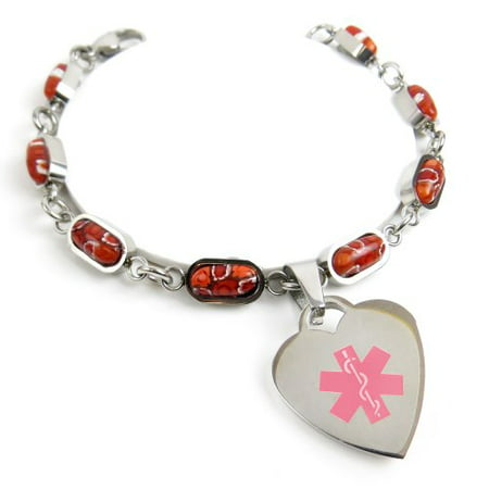 MyIDDr - Engraved Womens Glass MS ID charm bracelet, Red Flower Pattern](Ms Bracelets)