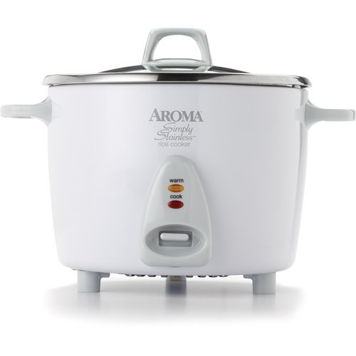 Aroma 14 Cup Stainless White Pot Style Rice Cooker, 3 Piece