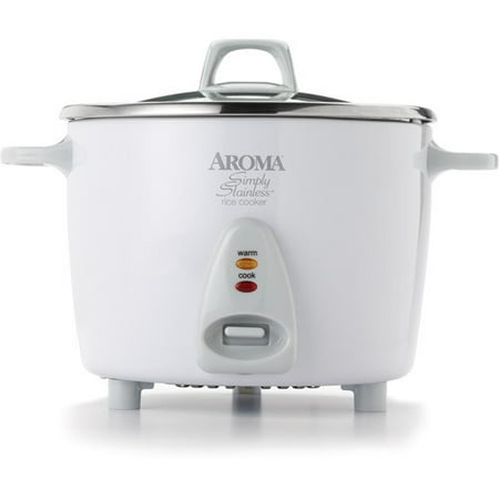 Aroma 14 Cup Stainless White Pot Style Rice Cooker, 3