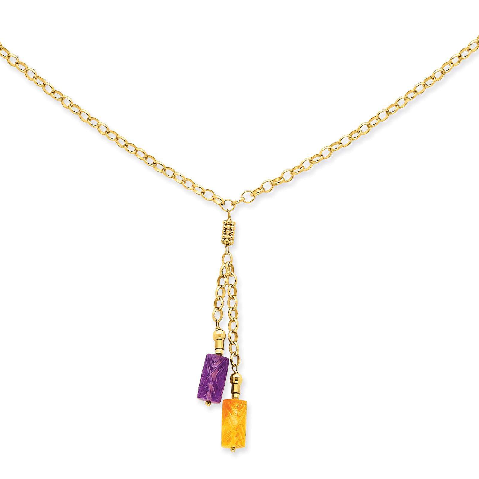 14K Amethyst & Citrine Drop Necklace by