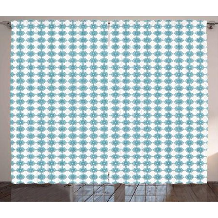 Geometric Curtains 2 Panels Set, Ornamental Interlacing Squares Art Deco Inspired Pattern Relaxing Design, Window Drapes for Living Room Bedroom, 108W X 108L Inches, Pale Blue and White, by Ambesonne