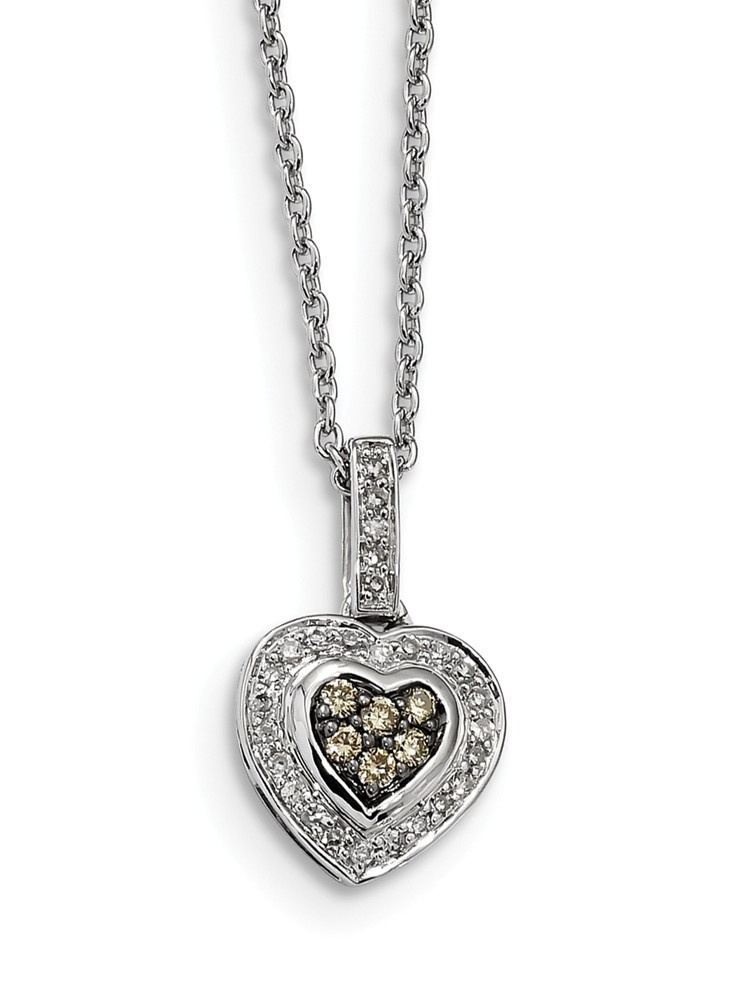 925 Sterling Silver (0.25cttw) Champagne Diamond Small Heart Pendant (18mm x 11mm) by