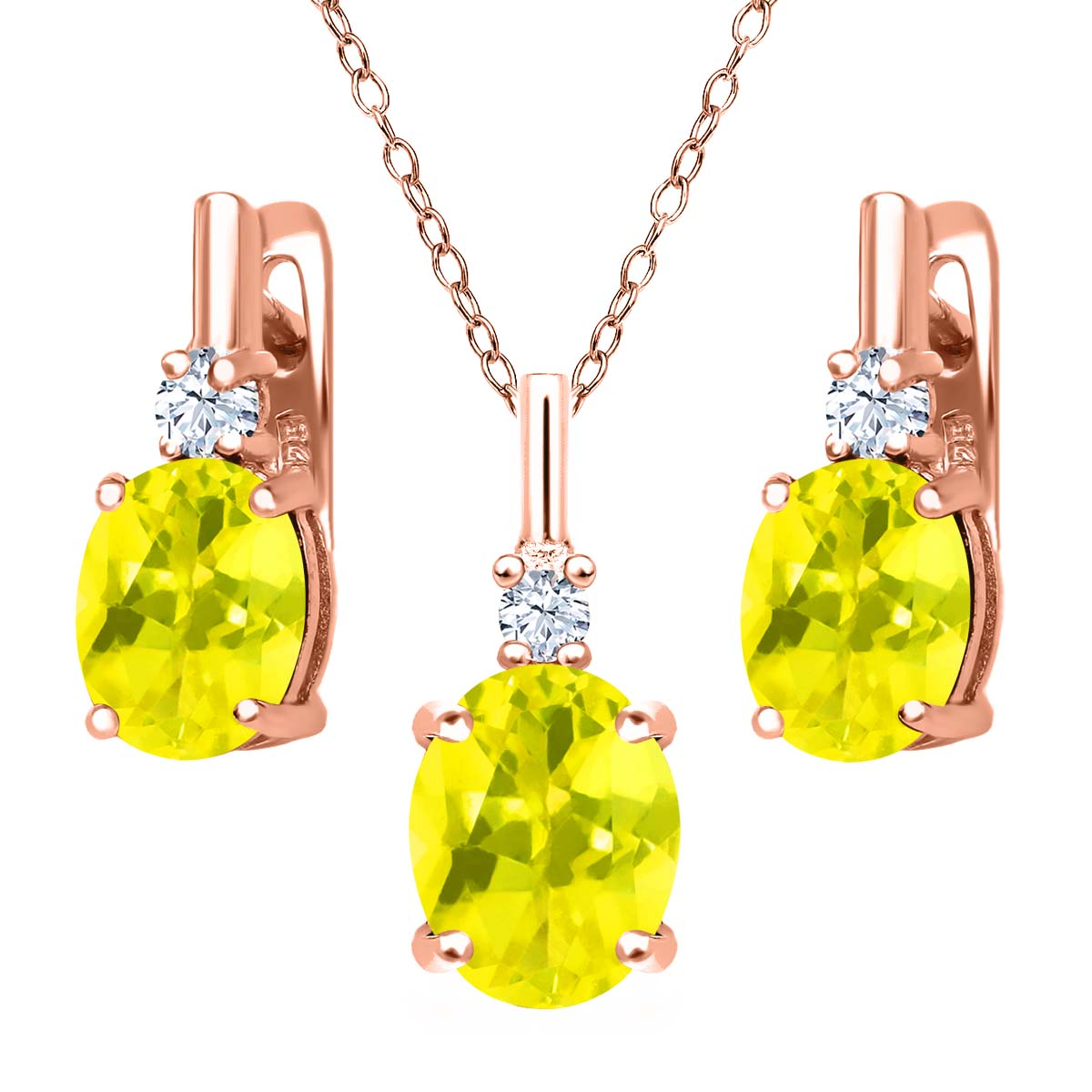 6.95 Ct Canary Mystic Topaz White Created Sapphire 18K Rose Gold Plated Silver Pendant Earrings Set by
