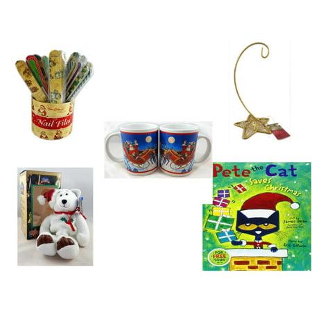 Five Star Base - Christmas Fun Gift Bundle [5 Piece] - 20   Themed Nail Files (Assrt) - Gold Glitter Star Base Ornament Hanger - Set of 2 Santa Claus Mug 10.5 oz. - Limited Treasures  Edition White Holly Berry Beani