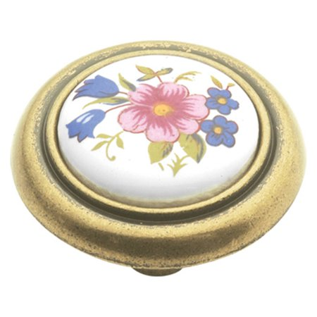 Hickory Hardware English Cozy Gold Trim Bouquet Cabinet Knob