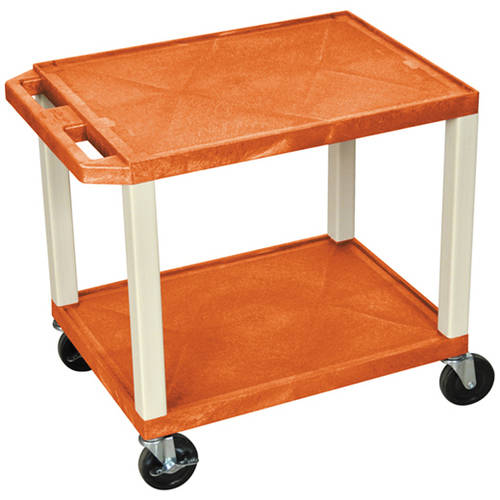 H. Wilson Tuffy 2-Shelf A/V Cart with Electric, Orange Shelves and Putty Legs