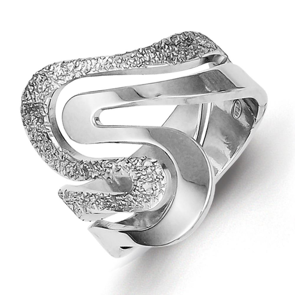 925 Sterling Silver Polished & Textured Swirl Ring Size 6