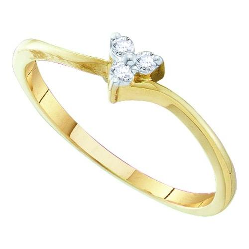 0.06Ctw Diamond Heart Bridal Womens Fixed Ring Size - 7