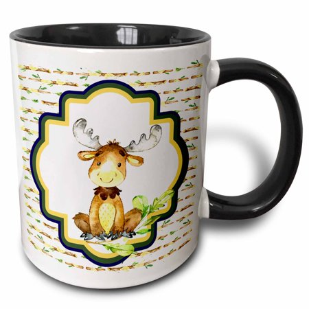 3dRose Cute Watercolor Woodland Moose On A Wood Log Background - Two Tone Black Mug, 11-ounce