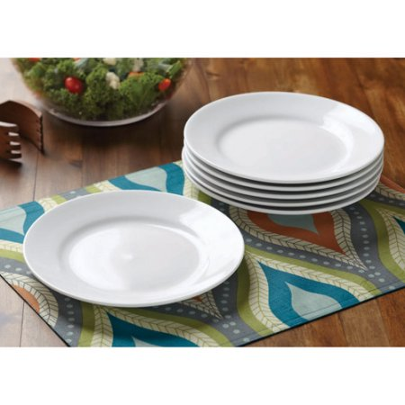 Better Homes & Gardens Round Rim Salad Plates, White, Set of 6