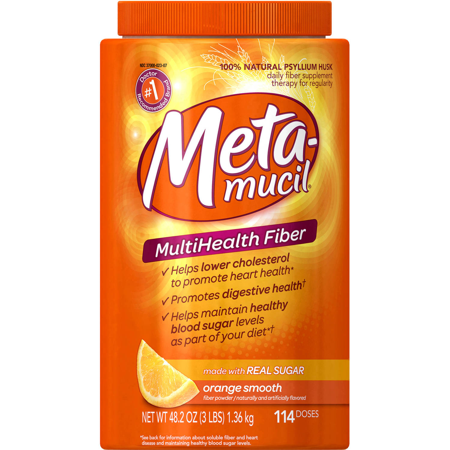 Metamucil Psyllium Fiber Supplement Orange Smooth Texture Powder (choose your size)