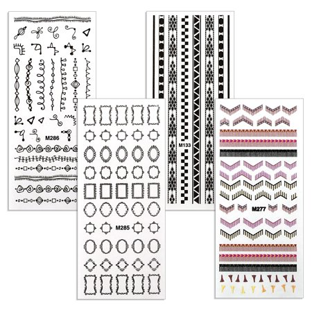 BMC Peek-a-Boo Rub-On Nail Decals of Elegant Frames, Fringe, and Tribal designs - Set of 4 Sheets for $<!---->