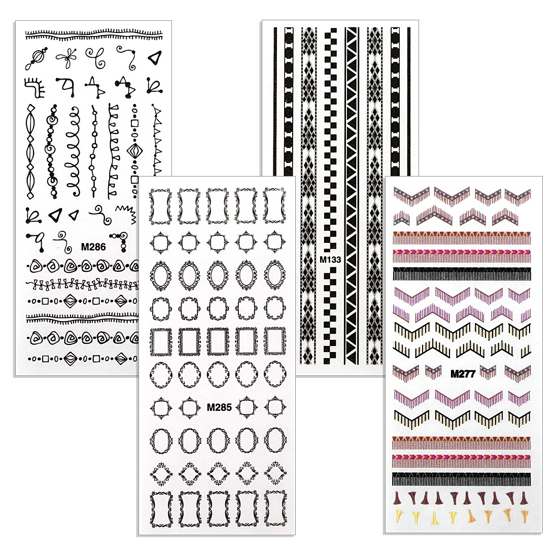 BMC Peek-a-Boo Rub-On Nail Decals of Elegant Frames, Fringe, and Tribal designs - Set of 4 Sheets