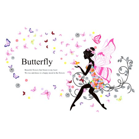 Butterfly Flowers Girls Art Peel and Stick Wall Decals Mural Stickers Home Room Decor Art Deco Murals