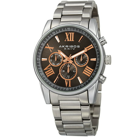 Akribos Xxiv Mens Automatic Watch - Akribos XXIV Men's Swiss Quartz Multifunction Dual Time Rose-Tone Bracelet Watch