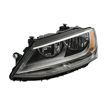 1998 Volkswagen Jetta Headlight - Drivers Combination Halogen Headlight Headlamp Replacement for 11-18 Volkswagen Jetta GLI Sedan 5C7941005J
