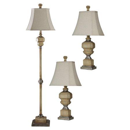 Florentine Floor Lamp/Table Lamp - Antique Caramel Finish - Taupe Softback Fabric Shade - Set Of 3: 2 Table, 1 Floor