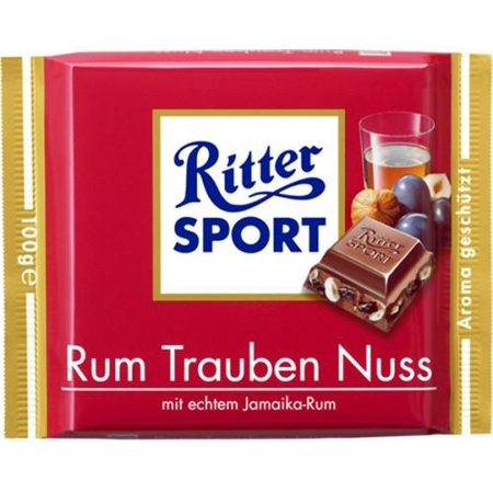 Ritter Sport Milk Chocolate with RUM, Raisins, and Hazelnuts (Chocolate Pecan Raisins)