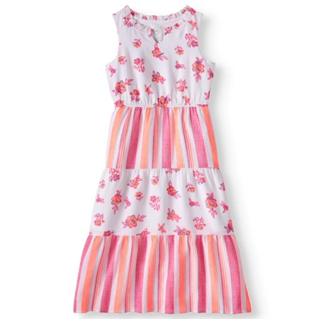 Floral and Stripe Maxi Dress (Little Girls, Big Girls & Big Girls Plus)
