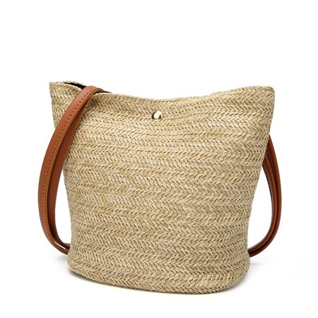 popular Women Casual Shoulder Bag Straw Bags Woven Bucket Bag Handbag