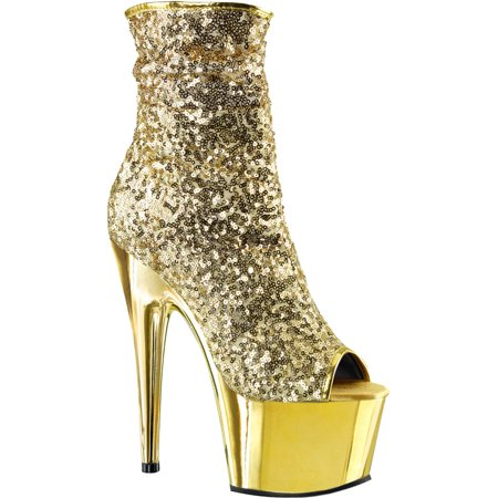 Womens Ankle Boots Sequin Shoes Gold Booties Chrome Platforms Zip 7 Inch Heels