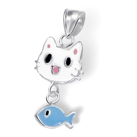 Childrens Adorable Sterling Silver and Enamel Cartoon Cat Face with Hanging Fish, 14