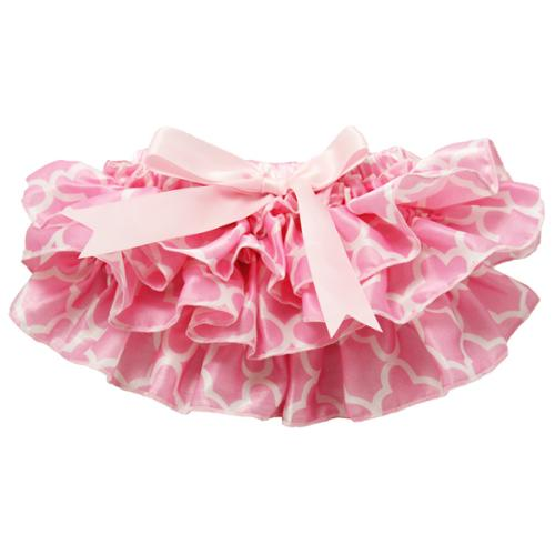 Baby Girls Light Pink and White Waverly Satin Bloomers 0-24 Months