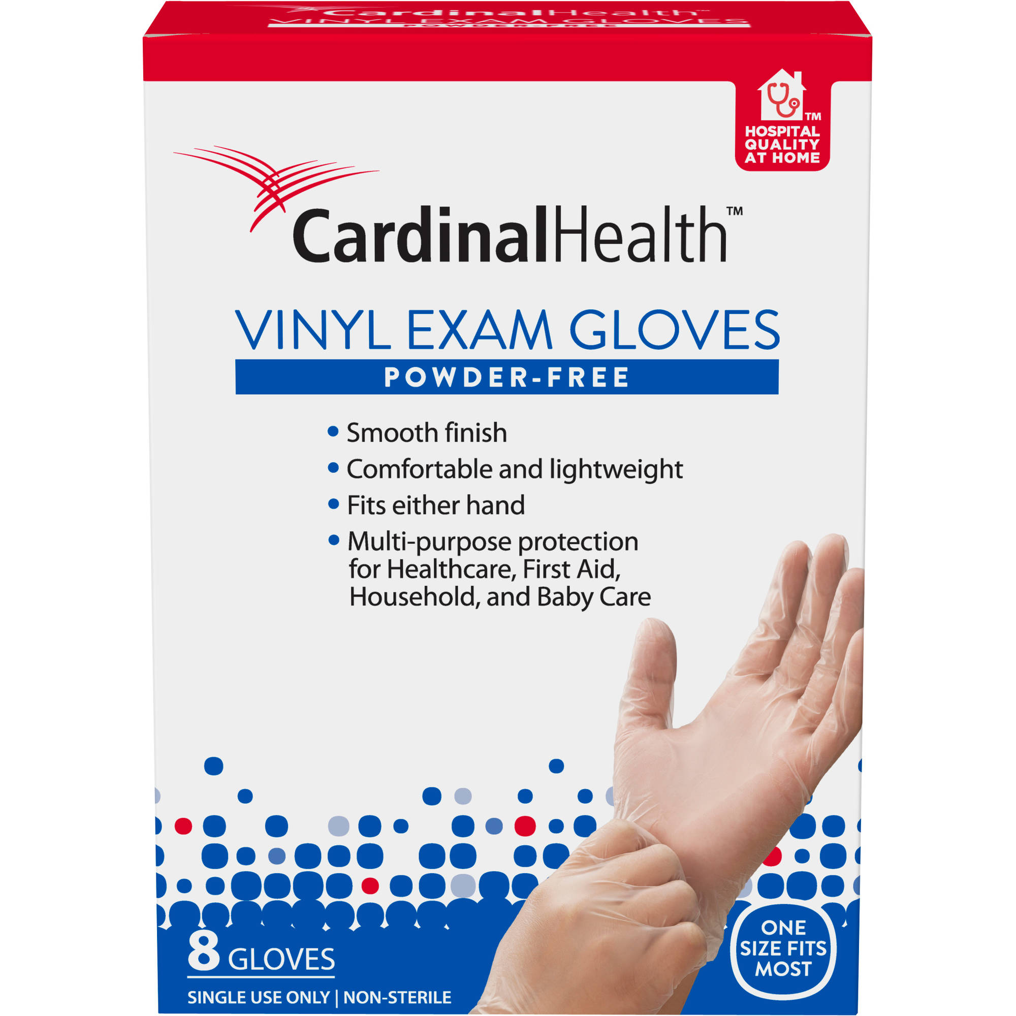 Cardinal Health Powder-Free Vinyl Exam Gloves, 8 count