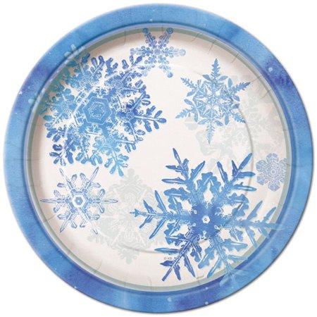 Snowflakes Large Paper Plates (8ct) (Blue Snowflake Plates)