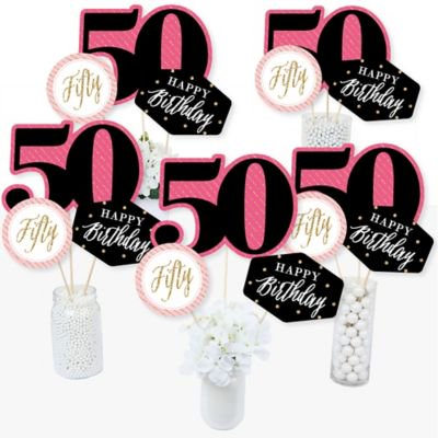 Chic 50th Birthday - Pink, Black and Gold - Birthday Party Centerpiece Sticks - Table Toppers - Set of (Table Centerpiece Ideas For 50th Birthday Party)