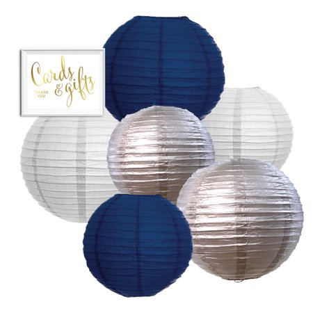 Navy Blue, Silver, White Hanging Paper Lanterns, 6ct, Cards and Gifts Party Sign