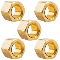 """5 Pack 3/8"""" Compression Nut & Ferrule Combo for 3/8"""" OD Tube Brass Sleeve Nut"""