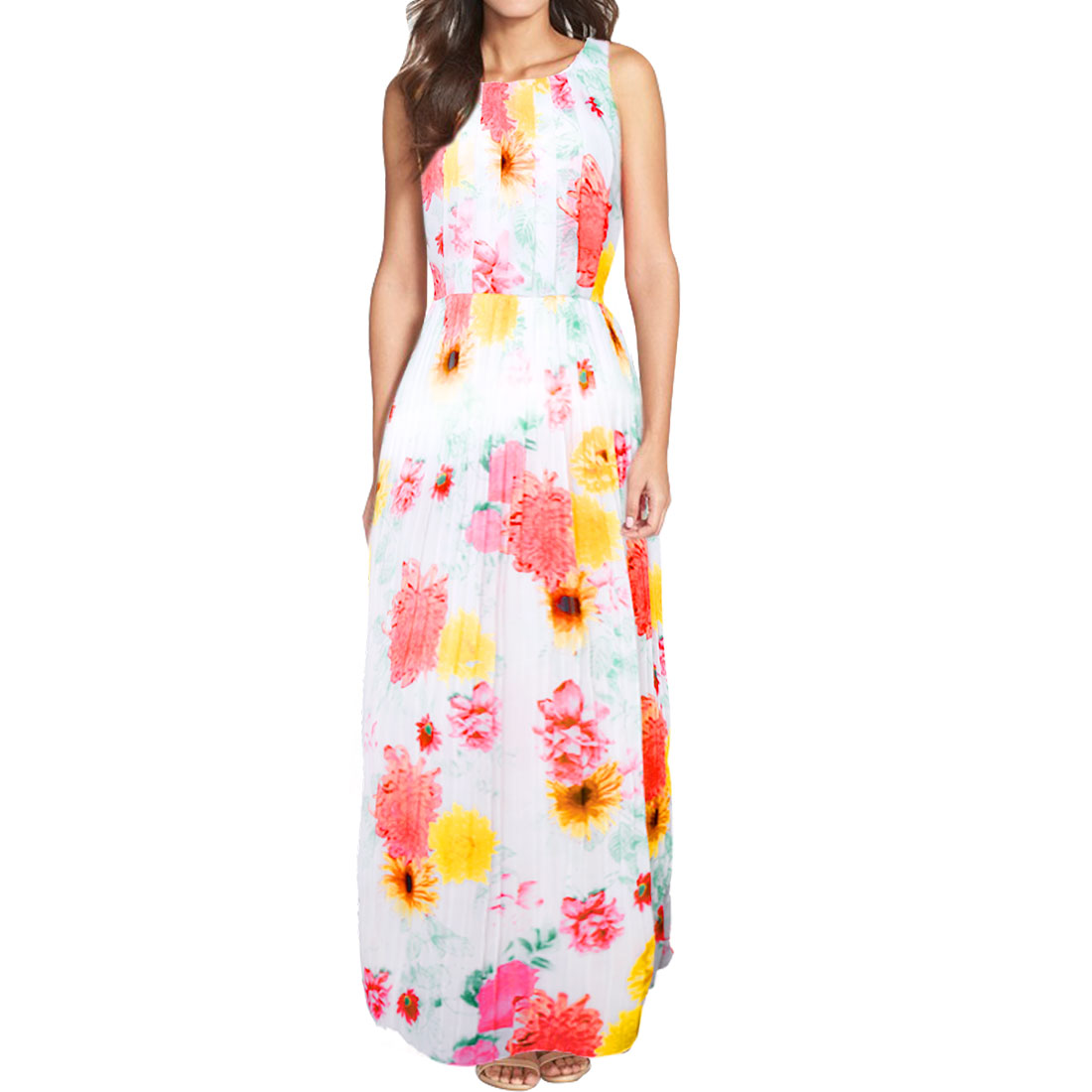 Women Round Neck Sleeveless Flower Pleated Maxi Dress White S