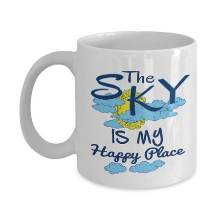 The Sky Is My Happy Place Coffee & Tea Gift Mug For A Pilot, Glider And People Who Love Skydiving & Paragliding