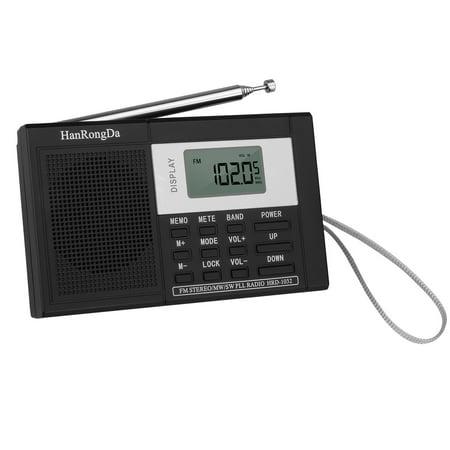 Digital Portable Radio LCD AM FM Radio Stereo Receiver MP3 Player Recorder with Sleep Timer, Preset, Alarm Clock and Earphone, Black (Cd Player Am Fm Clock Radio)