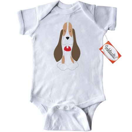 Inktastic Basset Hound with floppy ears Infant Creeper Baby Bodysuit dog puppy lover red collar pet animals gift one-piece