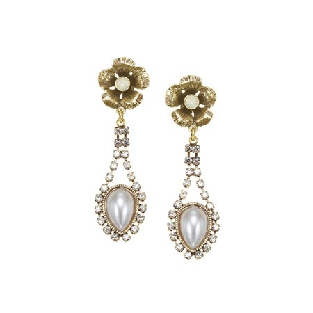 (TAZZA WOMEN'S GOLD FLOWER FAUX PEARL CRYSTAL DROP  EARRINGS)