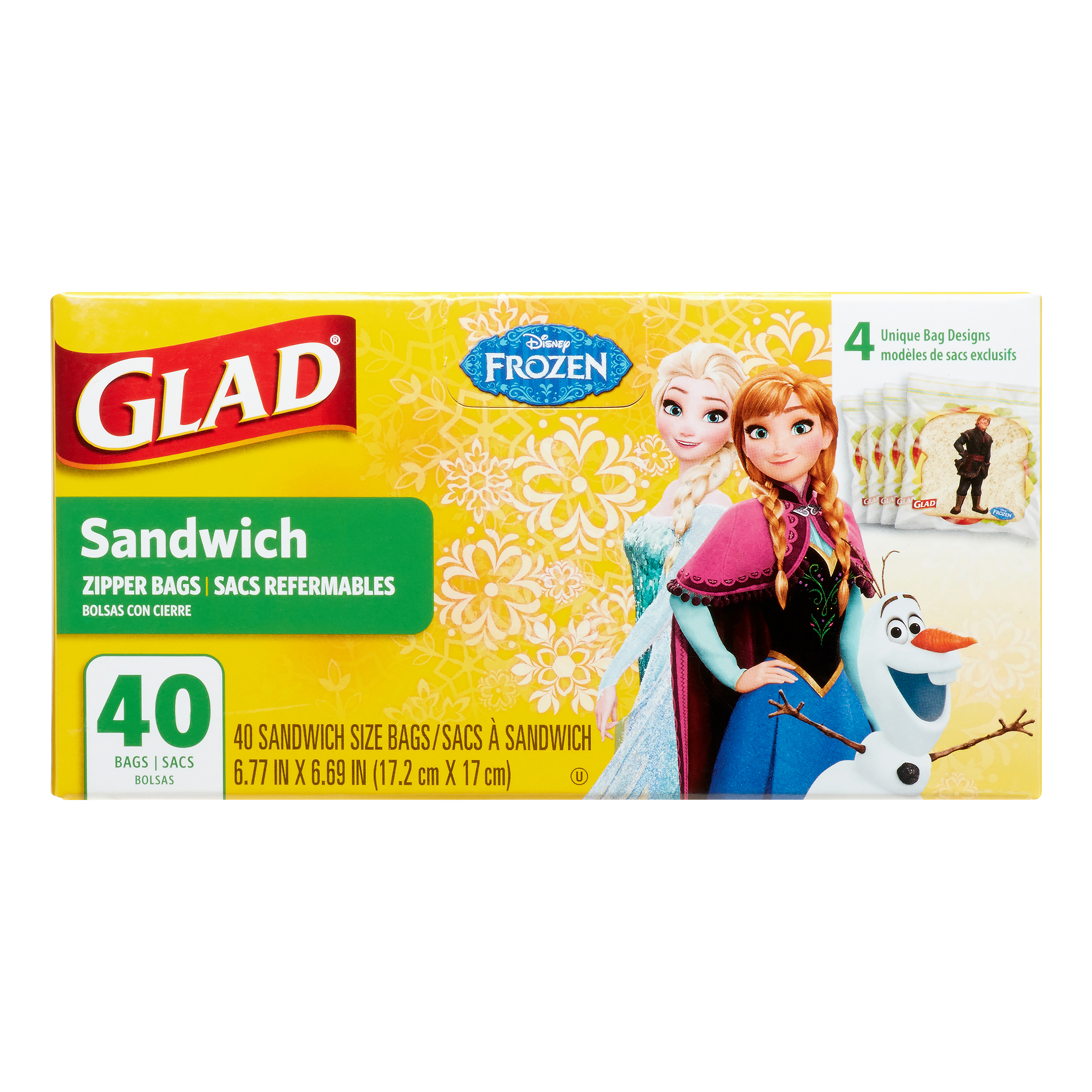 Glad Disney Frozen Zipper, Sandwich Bags, 40 Ct