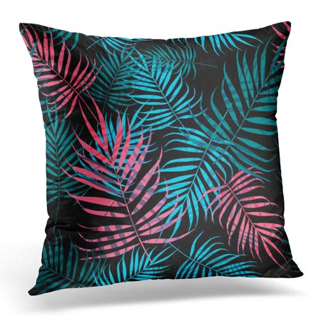ECCOT Colorful Frond Pink and Blue Palm Tree Foliage on Black Green Leaf Pillowcase Pillow Cover Cushion Case 16x16 (Blue Green Foliage)
