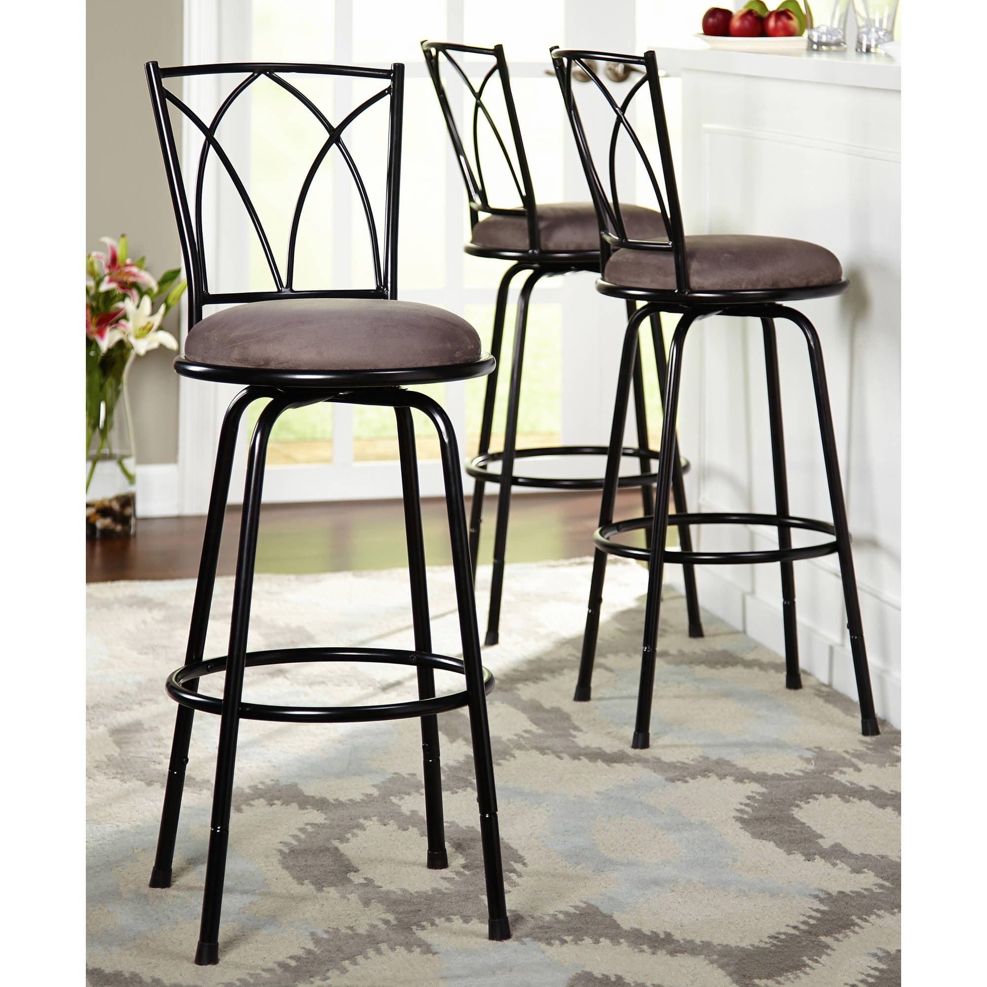 Beau Delta Adjustable Metal Barstools, 3 Piece Set, Black   Walmart.com