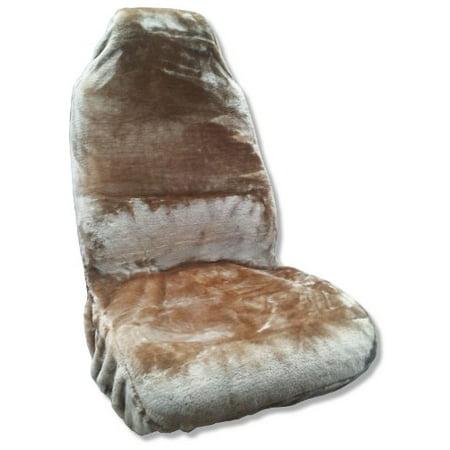 Synthetic Sheepskin Seat Cover Plush Fleece Single High Back Tan Fits Toyota Camry