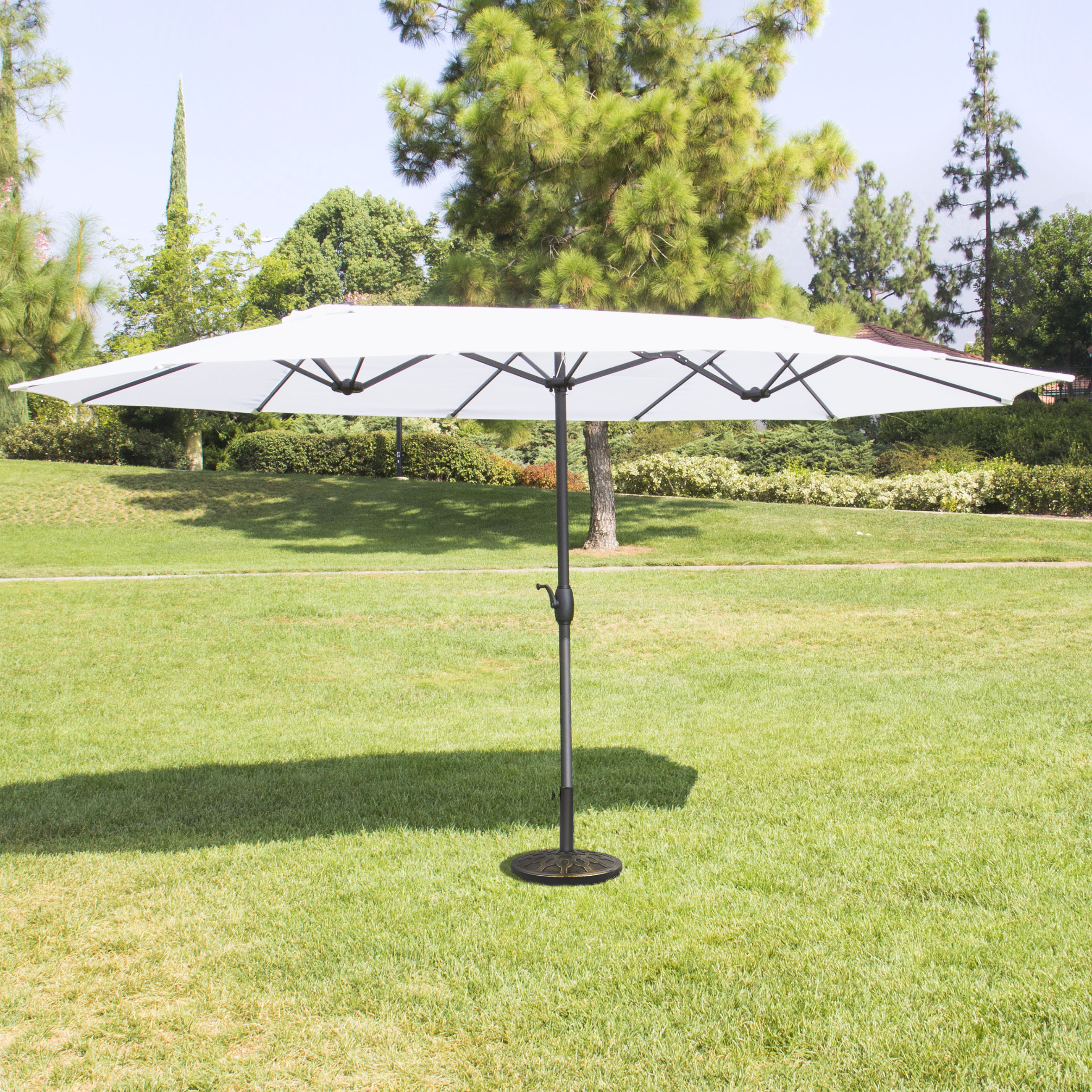Best Choice Products 15' Outdoor Umbrella Double-Sided Aluminum Market Patio Umbrella with Crank by
