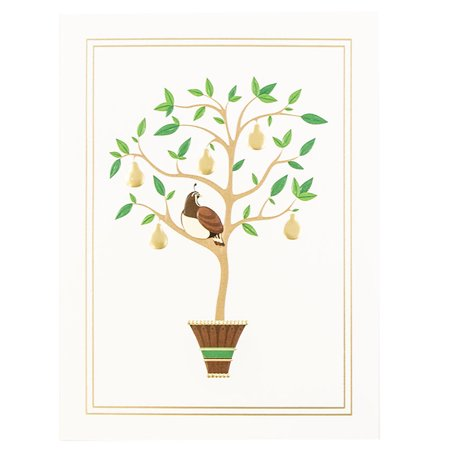 JAM Paper Christmas Card Set, Partridge in a Pear Tree Holiday Cards, 25/pack