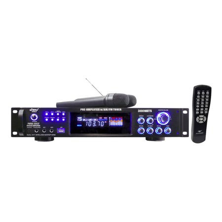 3000 Watts Hybrid Pre-Amplifier w/AM-FM Tuner/USB/Dual Cordless Mic
