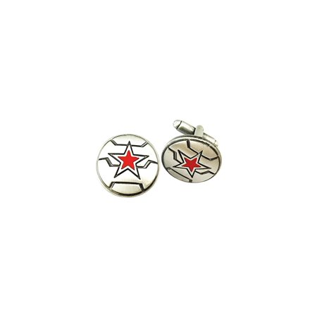 The Winter Soldier Marvel Silver Tone Cartoon Comic Logo Cufflinks w/Gift Box by Superheroes