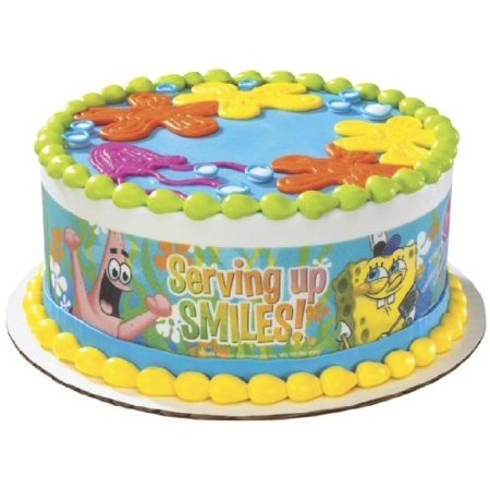 Spongebob Serving Up Smiles Designer Prints Edible Cake Image Bob The Builder Cake Decorations